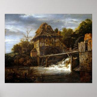 Poster Moulins à eau à aubes de Jacob van Ruisdael deux