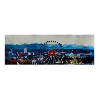 Poster Munich Wiesn et panorama d'Alpes d'Octoberfest
