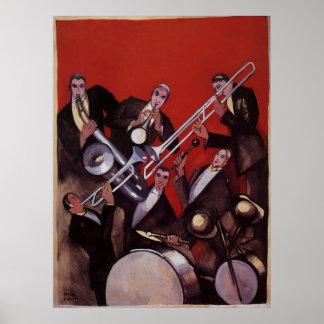 Poster Musique vintage, bloquer musical de jazz-band