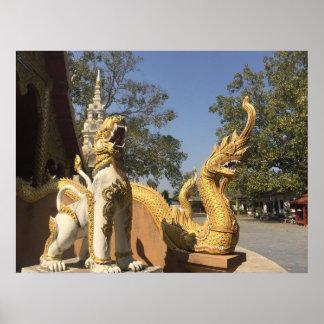 Poster Naga d'or et ~ blanc Chiang Mai, Thaïlande de