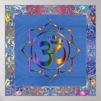 Poster Namaste Aum OM et Lotus avec la frontière de cru