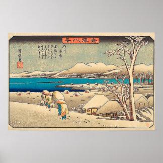 Poster Neige de soirée chez Uchikawa-Utagawa Hiroshige