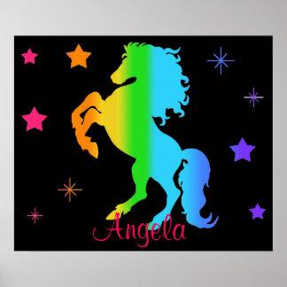 Poster Néon de Blacklight de fille d'étoile de cheval