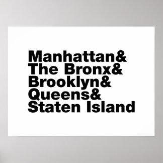 Poster ~ New York City de cinq villes