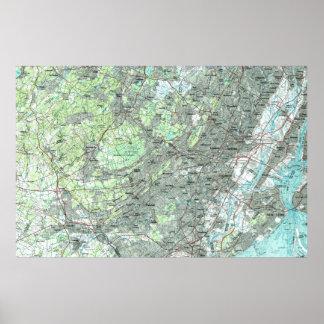 Poster Newark NJ et abords Map (1986)