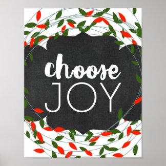 Poster Noël - choisissez la joie - lumières - affiche