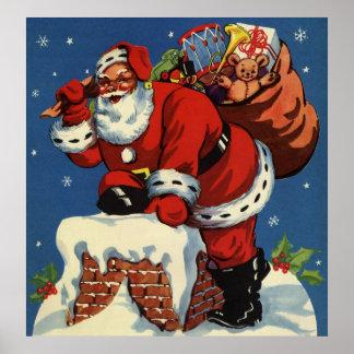 Poster Noël vintage, la cheminée W du père noël vers le