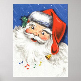 Poster Noël vintage, le père noël gai avec la musique