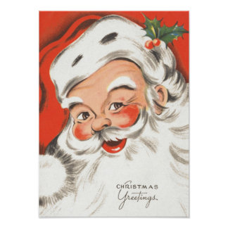 Poster Noël vintage, le père noël gai avec le sourire