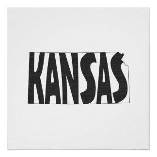Poster Noir d'art de mot de nom d'état du Kansas