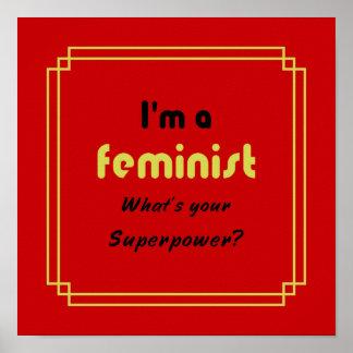 Poster Noir féministe de slogan de la superpuissance sur