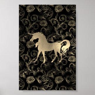 Poster Noir royal de la roseraie VIP de cheval de licorne