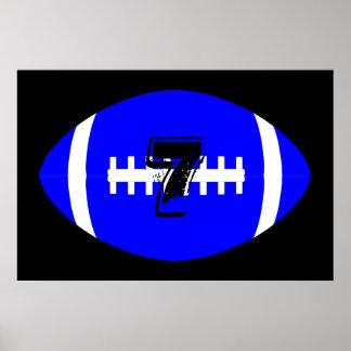 Poster Nombre bleu géant du Jersey du football de joueur