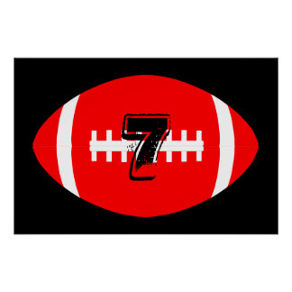 Poster Nombre rouge géant du Jersey du football de joueur