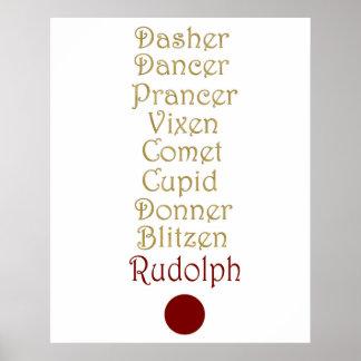 Poster Noms du renne de Père Noël sur A 24 x 30