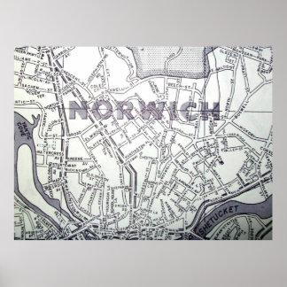 Poster Norwich, affiche vintage de carte de CT