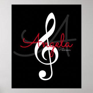 Poster note de musique (clef triple) avec le nom et