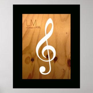 Poster note musicale, clef triple sur le bois,