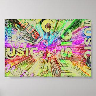 Poster Notes colorées de musique