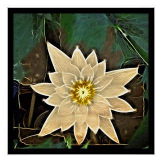 Poster Nouveau yoga Namaste Lotus blanc de bouddhisme Zen