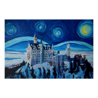 Poster Nuit étoilée à un château romantique aux Alpes