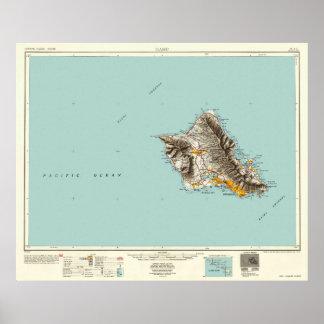 Poster Oahu, Hawaï--Carte du cru 1954