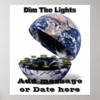 Poster Obscurcissez les lumières pour l'heure de la terre