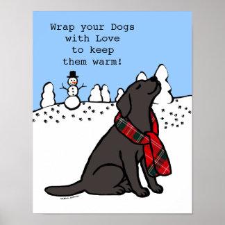 Poster Obscurité noire d'écharpe de tartan de Labrador