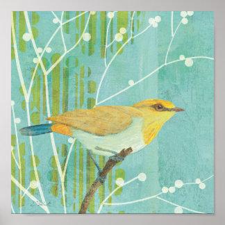 Poster Oiseau chanteur de ciel bleu
