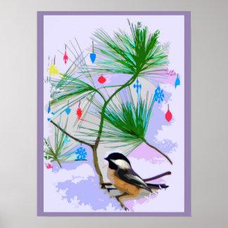 Poster Oiseau de Chickadee en affiche d'arbre de Noël