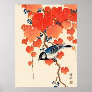 Poster Oiseau japonais vintage de geai et vigne d'automne