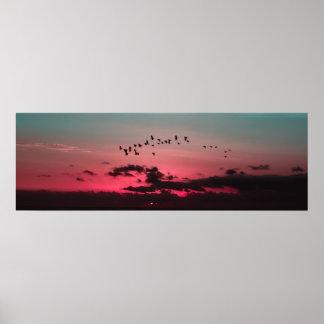 Poster Oiseaux au-dessus d'enfer