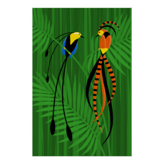 Poster Oiseaux du paradis colorés lumineux