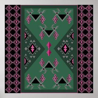 Poster Oiseaux et raisins verts et motif rose de kilim