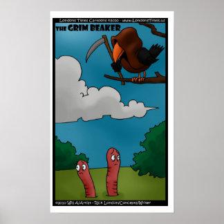 Poster Oiseaux et vers les affiches drôles de becher sini
