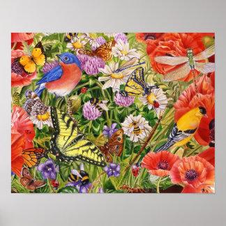 Poster Oiseaux, papillons et abeilles