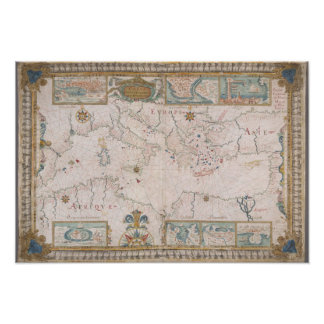 Poster Old Mediterranean sea map