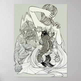 Poster Oni (diable) et une fille tatouée