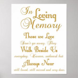 Poster Or dans le signe affectueux de mariage de mémoire