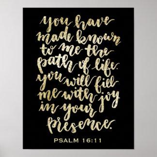 Poster Or de 16h11 de psaume marqué avec des lettres par