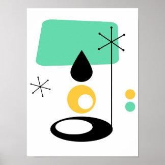 Poster or moderne de bleu de conception de lampe de la