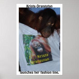 Poster Orang-outan de Krista de célébrité de paparazzi