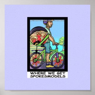 Poster Origine d'affiche drôle de bicyclette drôle de