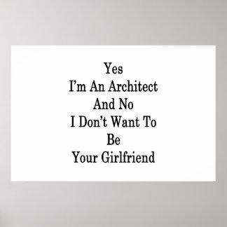 Poster Oui je suis un architecte et aucun je ne veux pas