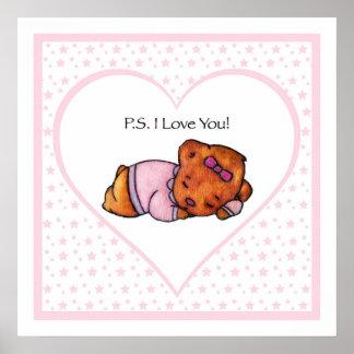 Poster Ours de fille de sommeil de picoseconde je t'aime