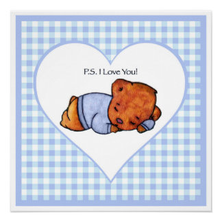 Poster Ours de garçon de sommeil de picoseconde je t'aime