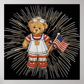 Poster Ours vintage d'infirmière avec les feux d'artifice