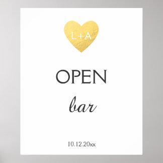 Poster Ouvrez le signe de mariage de barre, coeur d'or de