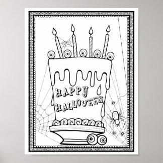 Poster Page adulte de carte de coloration de gâteau de