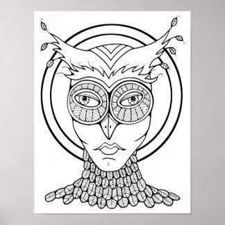 Poster Page adulte de carte de coloration de hibou de
